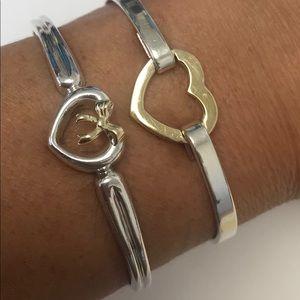 💝Open Heart Silver & 18k Gold Bow Cuff Bracelet💝